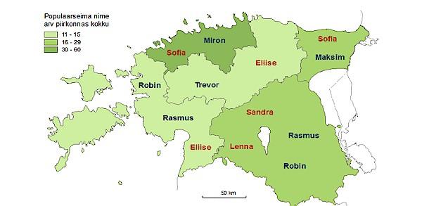Eesti noorte levinumad nimed