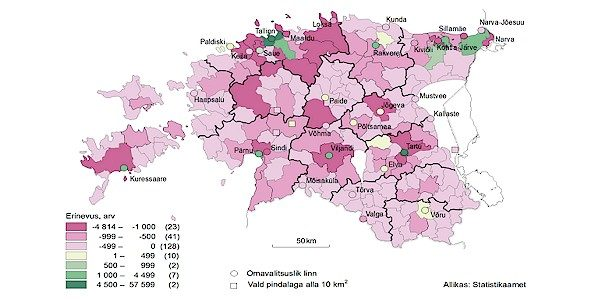 Enamik Eesti rahvastikust koondub päevasel ajal linnadesse